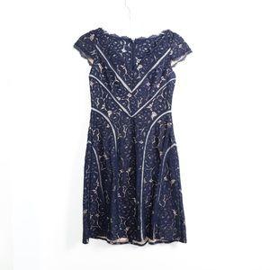 Adrianna Papell lace dark navy blue A-line dress 6